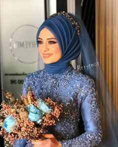 There are different rumors about the annals of the wedding … Hijabi Wedding, Muslimah Wedding Dress, Hijab Bride, Blue Wedding Dresses, Blue Dresses, Dress Wedding, Bridal Hijab Styles, Modest Fashion Hijab, Marriage Dress