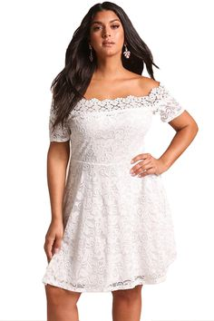 827ad5f303e Cheap White Plus Size Lace Off Shoulder Flared Dress only US  11.39