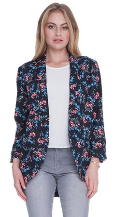 Look spring ready in this Blooming Blazer that mixes the romance of flowers with the sophistication of a fitted jacket. A little flirty and a lot fun, this blazer adds excitement to even the most basic jeans and tee outfit.