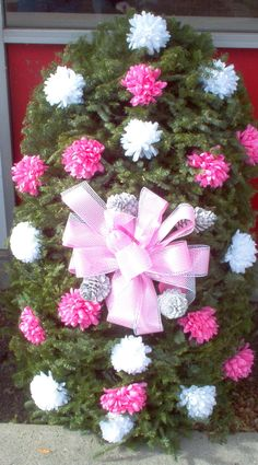 Pink and White Mums with Pink bow starting at $79.95