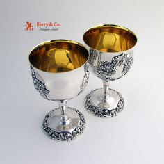 King Francis Wine Goblets Silverplate Gold Wash Reed and Barton 1975