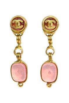 Vintage Chanel Pink Gripoix Drop Earrings