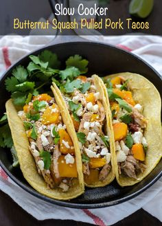 Easy slow cooker butternut squash pulled pork tacos with smoky chipotle chilis and bright orange juice. Your entire family will love this fresh, healthy meal! Healthy Slow Cooker, Slow Cooker Pork, Slow Cooker Recipes, Crockpot Recipes, Dinner Crockpot, Slower Cooker, Tacos Crockpot, Healthy Tacos, Easy Healthy Recipes