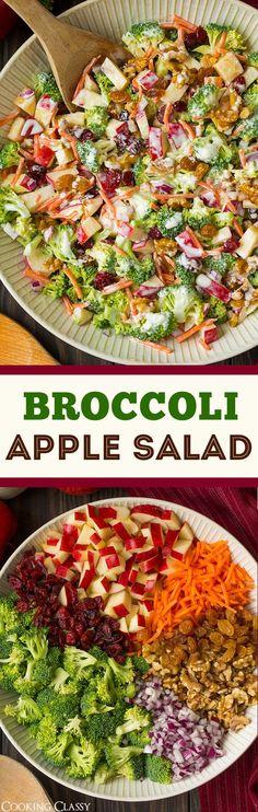 Broccoli Apple Salad – Cooking Classy Brokkoli-Apfelsalat – Kochen edel This… Healthy Salads, Healthy Eating, Healthy Recipes, Bbq Salads, Diabetic Recipes, Fruit Salads, Healthy Diabetic Meals, Low Fat Vegetarian Recipes, Bbq Vegetarian