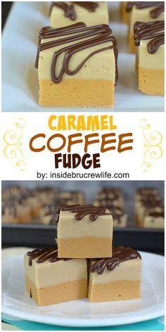 Camadas de fudge de caramelo, fudge café e chuviscos de chocolate torna este fudge irresistível!