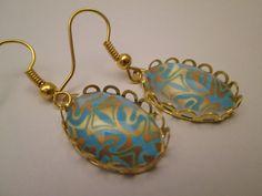 Ohrring+gold+-+blau+Vintage+antik+von+Schmuckstück+auf+DaWanda.com