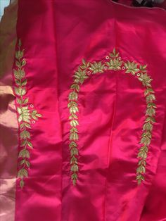 One of my creationsl Simple Blouse Designs, Saree Blouse Neck Designs, Bridal Blouse Designs, Embroidery Suits Design, Embroidery Designs, Maggam Work Designs, Designer Blouse Patterns, Work Blouse, Maggam Works