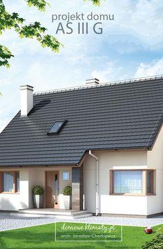 As III G - projekt domu jednorodzinnego z poddaszem użytkowym i dachem… Minimal House Design, Modern Minimalist House, Simple House Design, Minimal Home, My Home Design, New Home Designs, Home Design Plans, Bungalow House Plans, Bungalow House Design