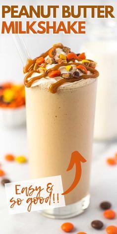 Milkshake Recipes, Smoothie Recipes, Smoothies, Yummy Snacks, Yummy Treats, Yummy Food, Peanut Butter Milkshake, Milk Shakes, Creamy Peanut Butter