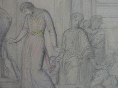 CHASSERIAU Théodore,1843 - Ste Marie l'Egyptienne, Etude pour l'Eglise St-Merri - drawing - Détail 05