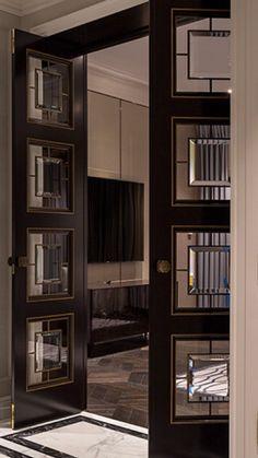 Art Deco door by Polina Pidtsan - Art déco - Art Decoration Wardrobe Door Handles, Wardrobe Doors, Closet Doors, Interior Storm Windows, Interior Door Knobs, Art Deco Door, Patio Doors, Glass Door, Glass Art