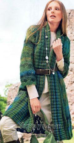 4fc64447e02 SHPULYA.com - Зеленое пальто с ажурным узором