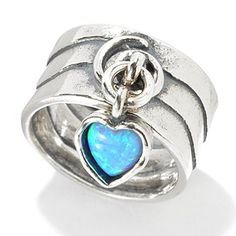Passage to Israel Sterling Silver Simulated Blue Opal Heart Charm Wide Band Ring