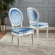 Camille Velvet Fabric Dining Chair (Set of by Christopher Knight Home (Icy Blue + Gloss White) (Polyester) White Dining Chairs, Fabric Dining Chairs, Dining Arm Chair, Chair Fabric, Side Chairs, Dining Room, Dining Sets, Chair Cushions, Dining Area