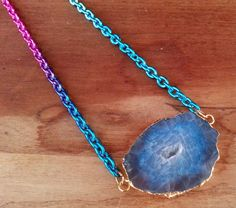 Handcrafted Blue Dragon Vein Agate Drusy Slice Necklace. Starting at $1 http://tophatter.com/lots/5068820?ref=245730