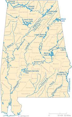 Alabama Lakes and Rivers Map