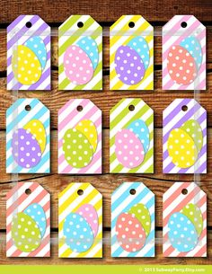 Free printable easter gift tags free printable easter and pastels printable easter gift tags candy stripes with fun polka dot easter eggs in pastel colors jpg instant download negle Image collections