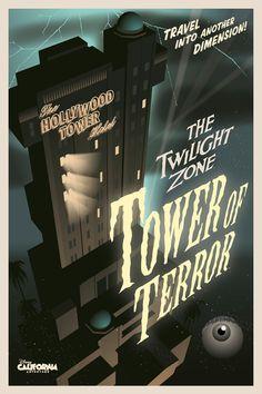 The Twilight Zone Tower of Terror poster, Disney California Adventure Parc Disneyland, Disneyland Rides, Disney Rides, Vintage Disneyland, Disney Sketch, Draw Disney, Disney Fun, Disney Stuff, Disney Travel