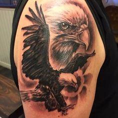 Eagle Tattoo - Tattoospedia Source by Eagle Tattoo Forearm, Eagle Shoulder Tattoo, Bald Eagle Tattoos, Forearm Tattoos, Body Art Tattoos, Sleeve Tattoos, Tatoos, Native American Tattoos, Native Tattoos