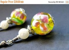 VALENTINE SALE Floral Beaded Earrings Yellow Lampwork - Peony Sunshine. Handmade Earrings. by Gilliauna from Bits n Beads by Gilliauna. Find it now at http://ift.tt/2l0tQEt!