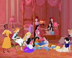 Crossover pictures of the Disney girls having a slumber party! Walt Disney, Disney Girls, Disney Love, Disney Magic, Disney Stuff, Disney E Dreamworks, Disney Pixar, Disney Characters, Disney Princesses