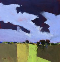 Semi-abstract landscape original painting - Dark clouds