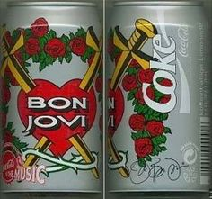 "Up for bid is this rare Bon Jovi Coca Cola Can with Jon's signature (plate signed). The seller says, ""This rare Bon Jovi can was only available during the European German concerts in To own this Coca Cola can,. Coca Cola Decor, Coca Cola Can, Coca Cola Bottles, Coke Cans, Pepsi, My Favorite Music, My Favorite Things, Bon Jovi Always, Diet Coke"