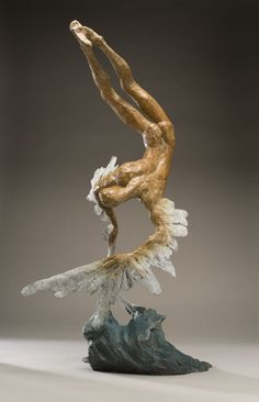 Bronze Stylized People sculpture by artist Nicola Godden titled: 'Icarus VII (Small Bronze Falling with Melting Wings Sculptures / statue)'