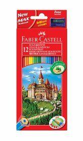 Faber-Castell, kredki w drewnianej oprawie z temperówką, 12 kolorów