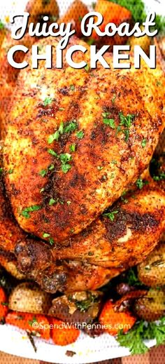 - This juicy whole roast chicken is the easiest oven baked chicken recipe ever. We love making this recipe all year around! Whole Chicken In Oven, Baked Whole Chicken Recipes, Easy Oven Baked Chicken, Baked Chicken Legs, Baked Chicken Fajitas, Roast Chicken, Chicken Meals, Roasted Vegetables With Chicken, Oven Vegetables