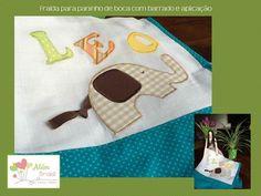 Aplicação em tecido de fralda para paninho de boca - elefantinho personalizado - Além Brasil