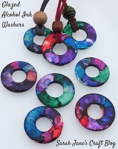 Glazed Alcohol Ink Washers: Testing Three Types of Glaze Alcohol Ink Jewelry, Alcohol Ink Glass, Alcohol Ink Crafts, Alcohol Ink Painting, Alcohol Inks, Washer Crafts, Mod Podge Dimensional Magic, Crafts For Kids, Diy Crafts