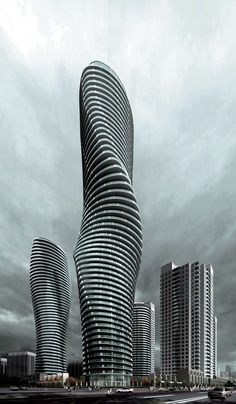Marylin Monroe's Tower by Ma Yansong  Ma Yansong — Absolute Towers  These apartment buildings, currently under construction in Mississaugu, Canada constantly rotate at different degrees and on different levels, creating an ever-changing view of the city.