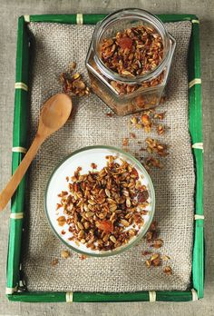 Olive Oil Granola with Honey, Salted Pistachios and Dried Apricots @mykitchenaffair.blogspot.com