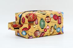 Colorful Lanterns Quilted Cosmetic Bag with Handle Boxy