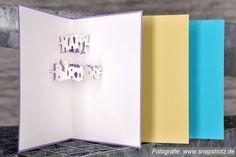 """Bei dieser Klappkarte """"Happy Birthday"""" mit der von MellieDesign selbst kreierten Schrift springen dem Betrachter die Worte buchstäblich ins Auge!  Gratulieren Sie mit der 3D-Popup-Technik einmal auf eine ganz ausgefallene Art und Weise."""