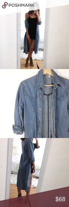 Maxi Jean Jacket Trendy Jean duster jacket size 8, silver metal buttons. Brand Amazing. 3/4 sleeve. No pockets, Perfect condition Retail: $129.00 Urban Outfitters Jackets & Coats Jean Jackets