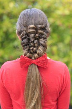 Banded Puff Braid. It's more of a faux braid but so easy ;) #hairstyles #CuteGirlsHairstyles #CuteGirlHair #Braid #Braids