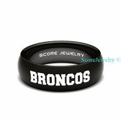 Black Tungsten Band Ring Mens Womens Ring NFL Football Denver Broncos Ring Birthday Anniversary Gift