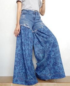Items similar to SALE Wide Legs Jeans Frayed Distressed Jeans Unique Bell Bottom Medium weight Denim Cotton in Pasley Blue on Etsy Jean Diy, Jean Délavé, Distressed Denim, Denim Skirts, Midi Skirts, Long Skirts, Denim Overalls, Denim Fashion, Refashioned Clothes