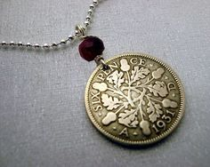 Antique silver COIN NECKLACE - lucky six pence - oak leaves - acorns - genuine ruby bead - coin jewelry