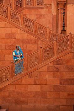 Staircase carved out of sandstone, Bikaner Fort, Bikaner, Rajasthan, India