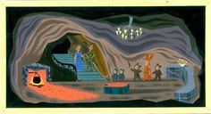 Mary Blair Concept of Peter Pan, Wendy, and the Lost Boys in the Hide Out from Peter Pan