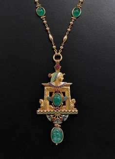 An Art Nouveau Jules Wiese Pearl Enamel Emerald Gold Egypt Pendant Bijoux Art Nouveau, Art Nouveau Jewelry, Jewelry Art, Jewelry Necklaces, Egypt Jewelry, Geek Jewelry, Gemstone Bracelets, Fashion Jewelry, Victorian Jewelry