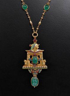Jules Wiese Pearl Enamel Emerald Gold Egypt Pendant. JULES WIESE (1818-1890) Pendant « Egypt » Yellow gold, enamel, emeralds, pearls Paris, circa 1875