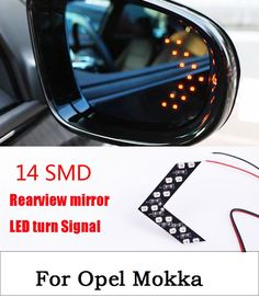 2Pcs/Lot Car Styling 14 SMD LED Turn Signal Light For Car Rear View Mirror Arrow Panels Indicator For Opel Mokka