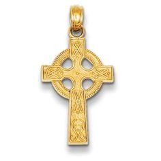 14k Rose Gold Latin Design Religious Cross Pendant Height 22 MM Width 13 MM