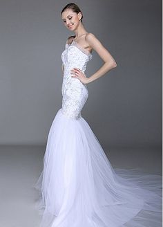 Fabulous Tulle & Satin with Lace Appliques Mermaid Sweetheart Neckline Inverted Basque Waist Beaded Wedding Dress