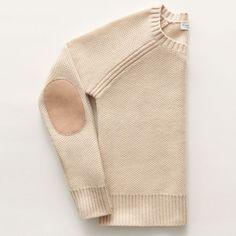 elbow patch cashmere crewneck