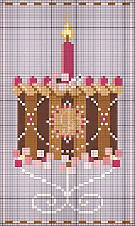Counted cross stitch June birthday cake. Of course it is a chocolate one!